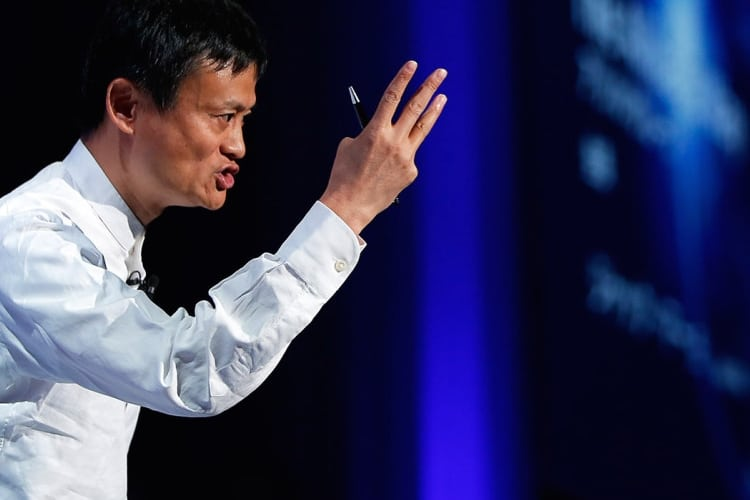 jack ma harvard showing 3 fingers