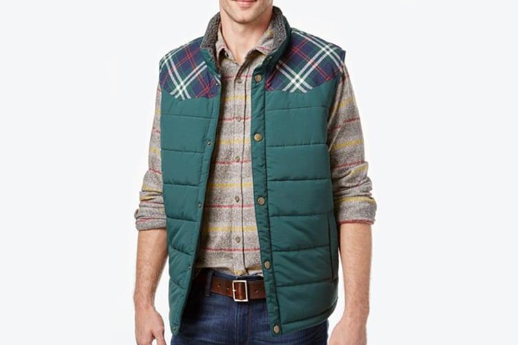 macy weatherproof vintage men pieced plaid vest