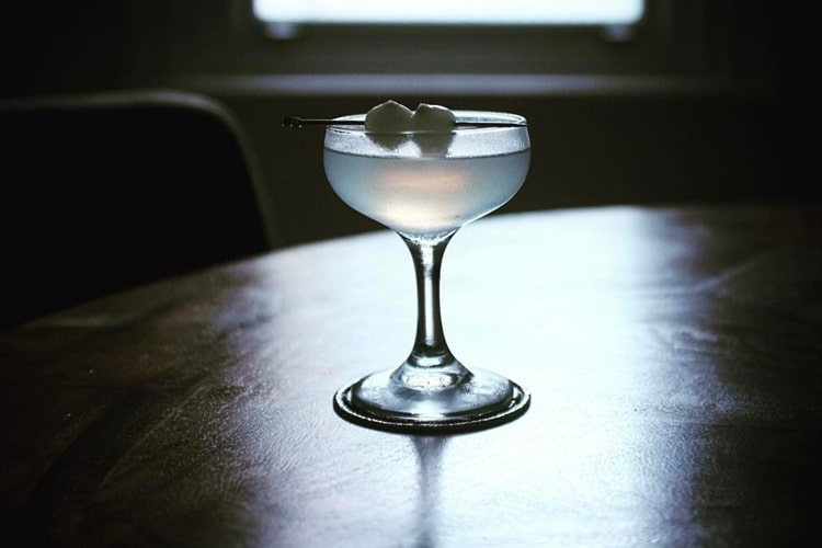gin poured in glass