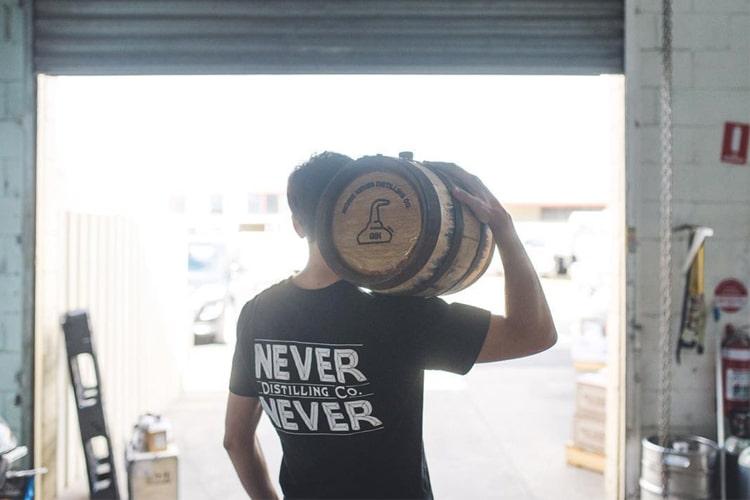 never never gin barrel on shoulder