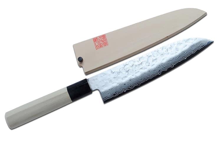 yoshihiro cutlery nsw hammered damascus santoku knife