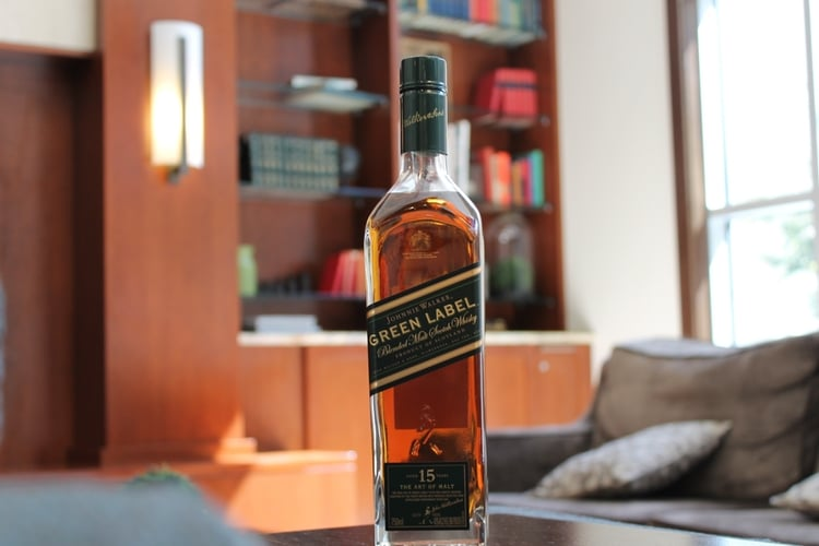 johnnie walker green label whisky bottle