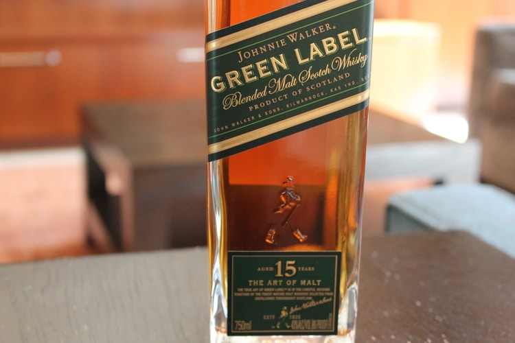 johnnie walker green label bottle view