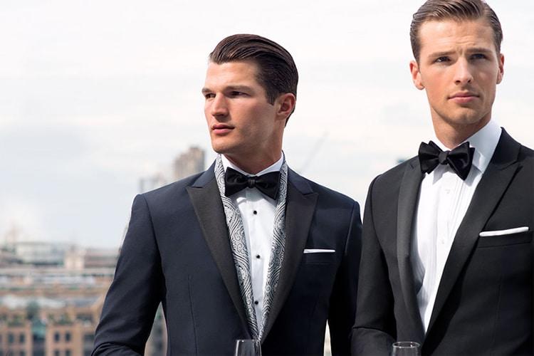 two man wear tm lewin bespoke suit