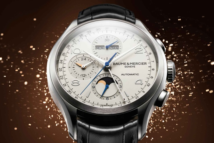 baume et mercier black leather strap