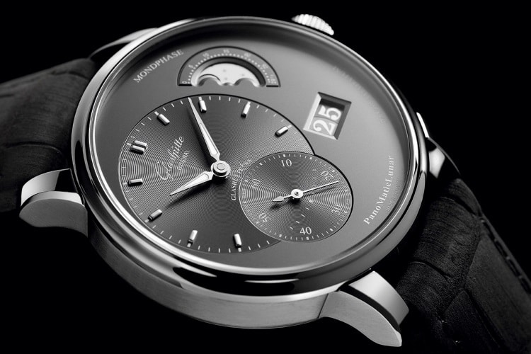 """""""glashütte"""" originalus juodas laikrodžio diržas"""