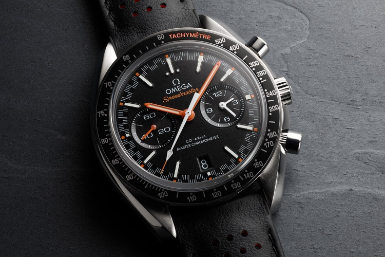 omega watch leather black strap