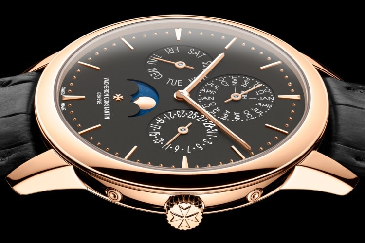 vacheron constantin gold color with black leather strap