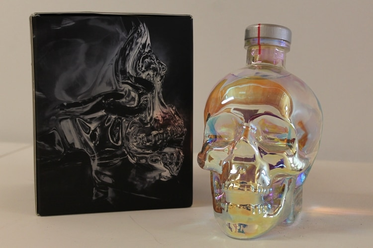 crystal head aurora vodka glass and packet