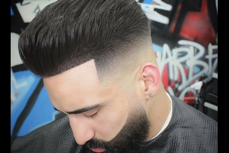 men pompadour haircut fade