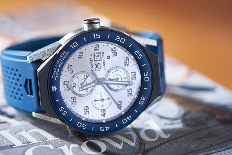 blue color tag heuer watch