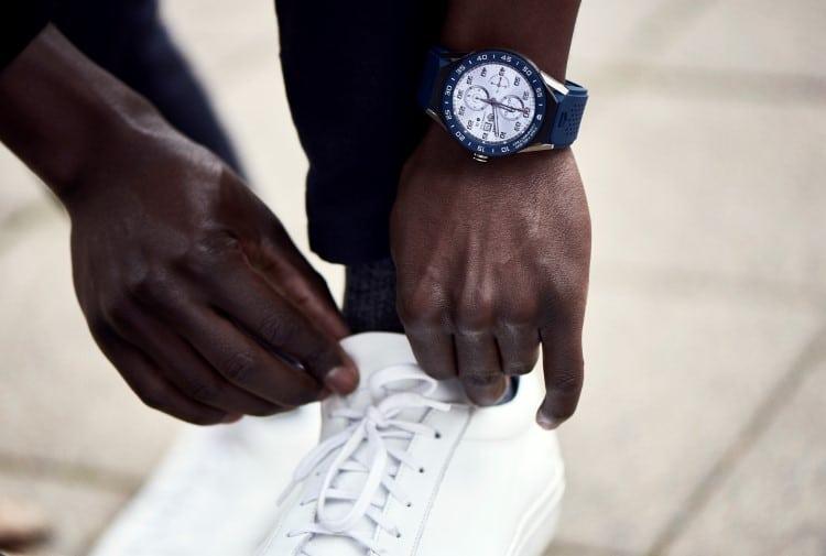 tag heuer watch wearing shoe