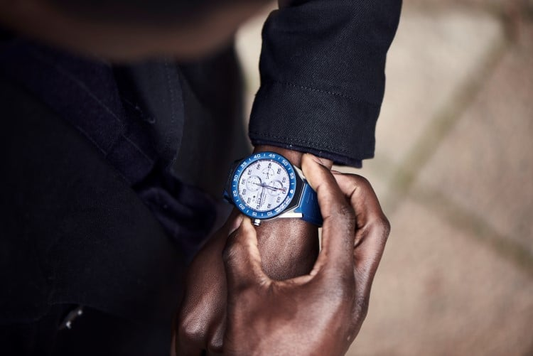 tag heuer sub dials blue color watch