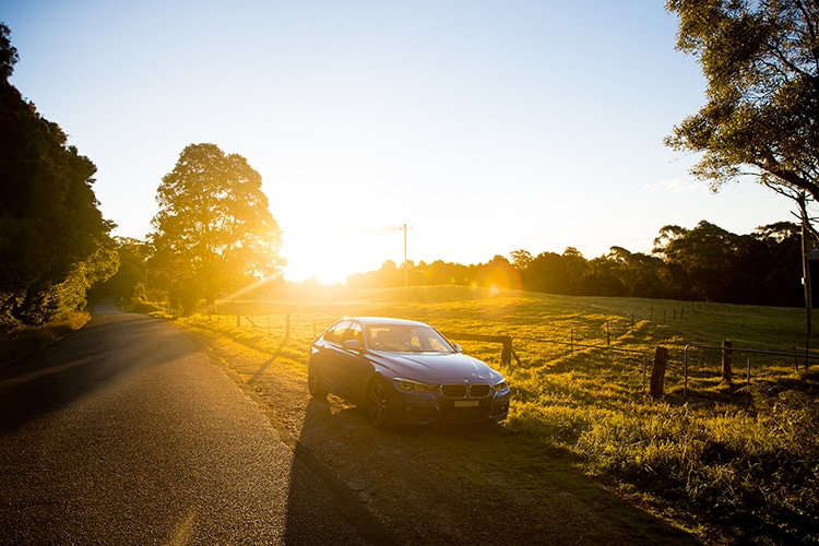 bmw 320i m car in the sunlights