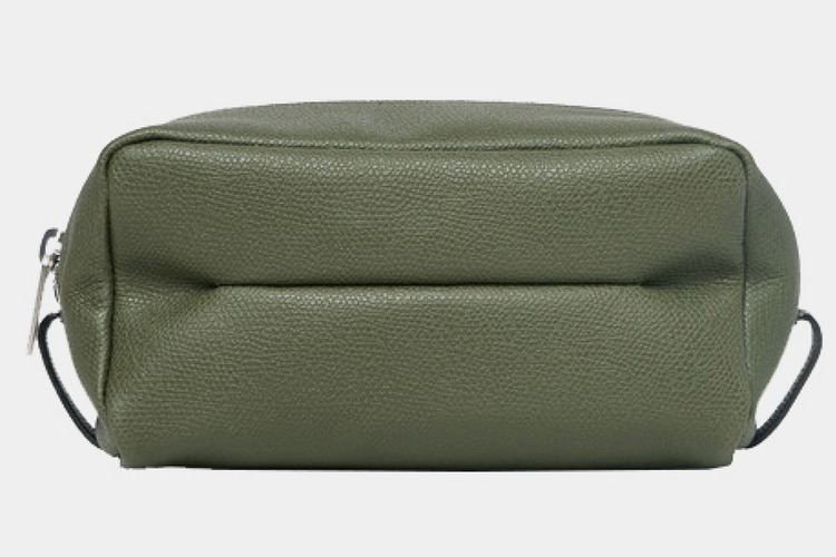 valextra small pebble grain leather wash bag