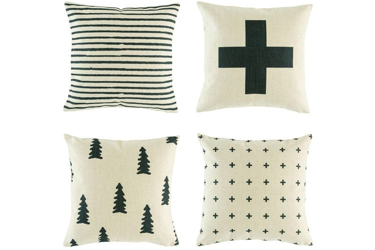 black and white cushions view
