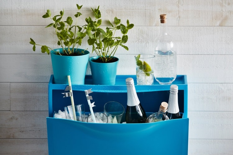 create a mini bar with an ikea shoe cabinet