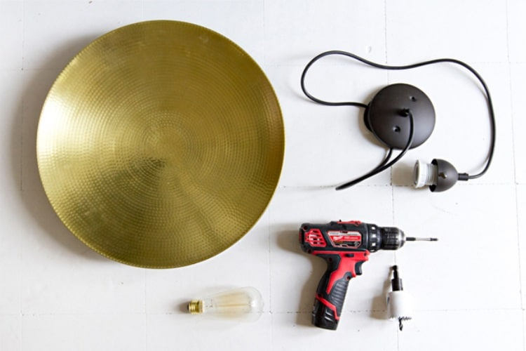 turn dish into pendant lamp with drill hole