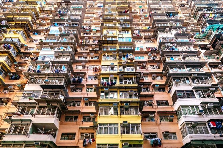 hong kong city building shape