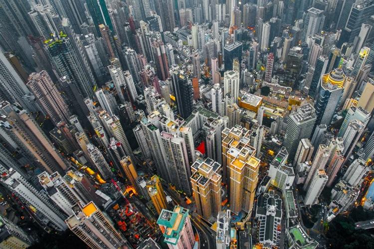 hong kong city look in the sky