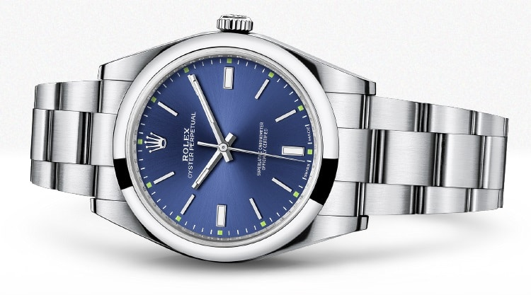 rolex oyster watch blue color stainless steel