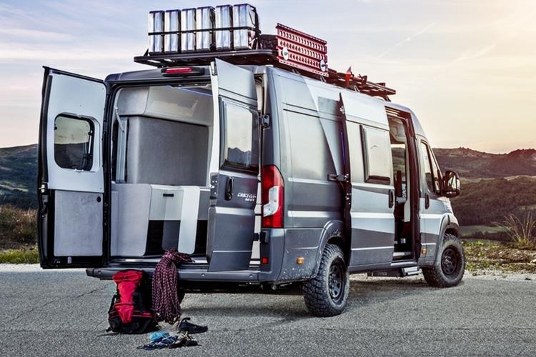 rear side of fiat ducato camper van