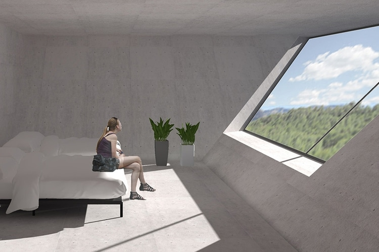 girls looking outside in inverted pyramid house bed