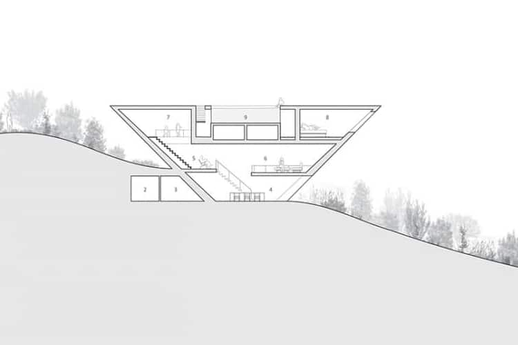 inverted pyramid house negative image view