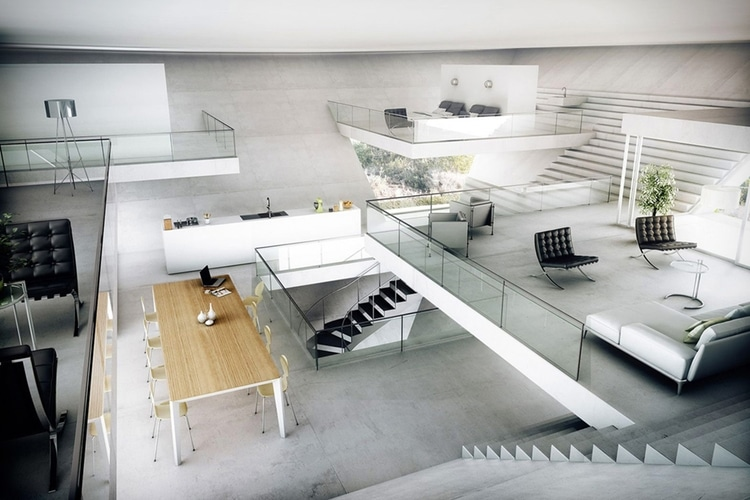 inverted pyramid house inner decoration view from top