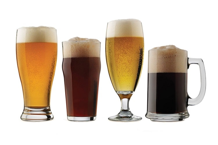 craft beer assorted glasses