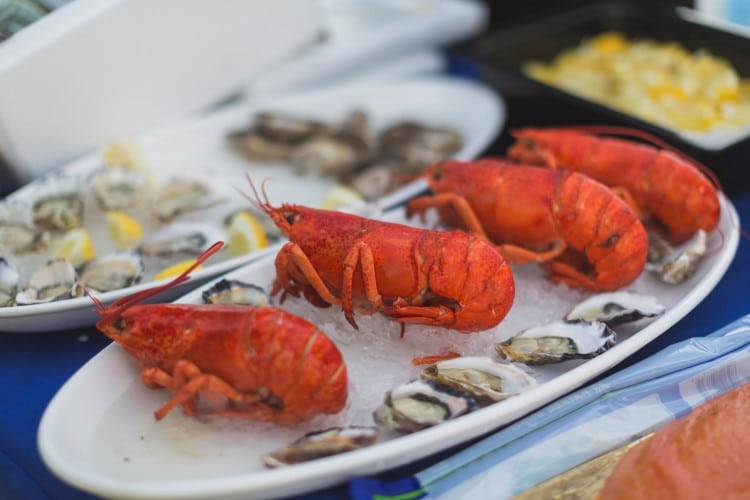 marriott lobster frying on the plate