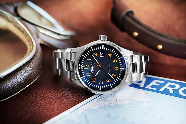 alpina quartz watch blue stainless steel