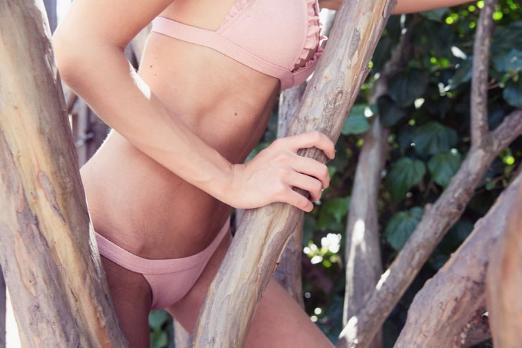 beate muska wearing pink bra and underwear