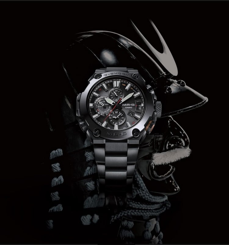 casio g shock mr g  watch on the rope