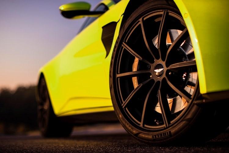 wheel of aston martin vantage car