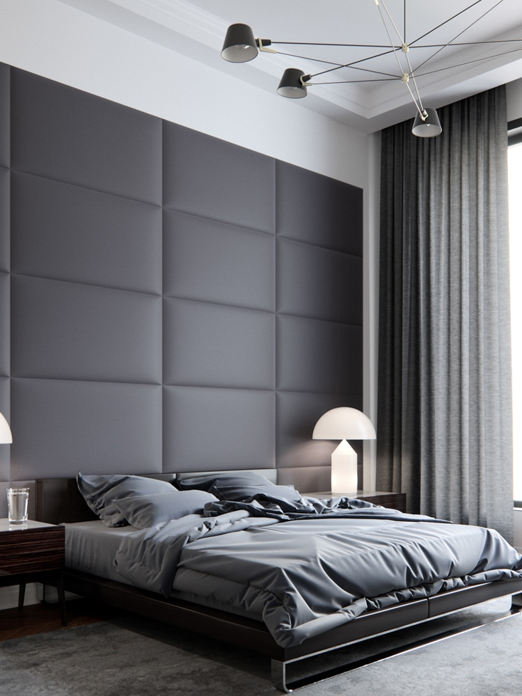 masculine bedroom with two bed lamps