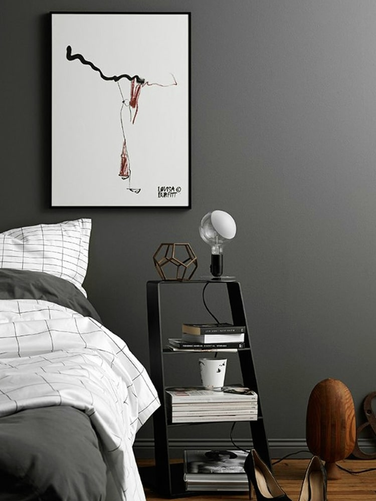 masculine bedroom has an image