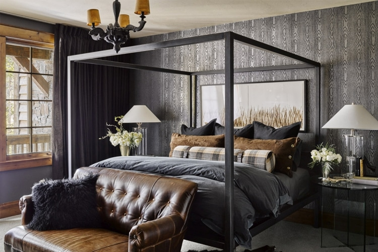 masculine bedroom with sofa