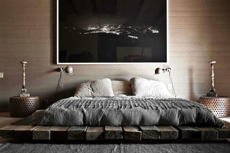 masculine bedroom wooden bed platform