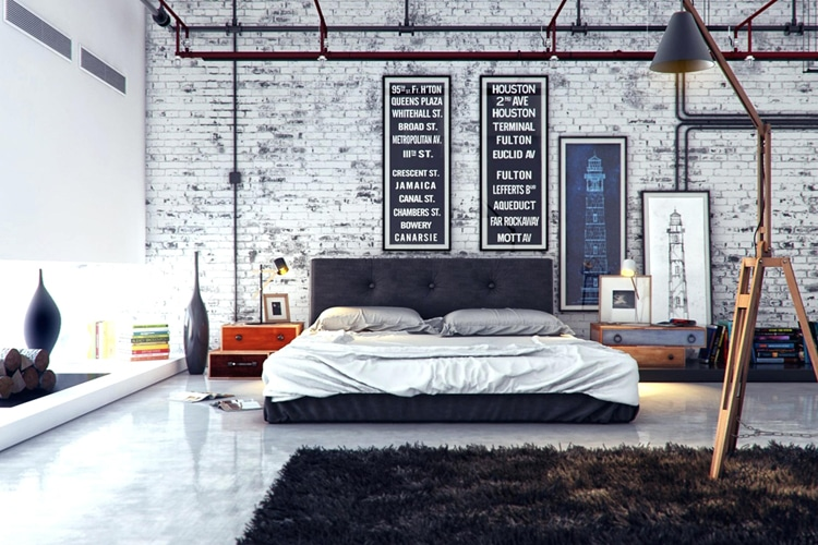 masculine bedroom white color wall