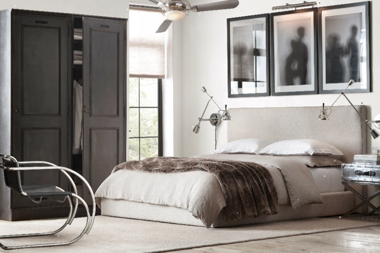 masculine bedroom with ceiling fan