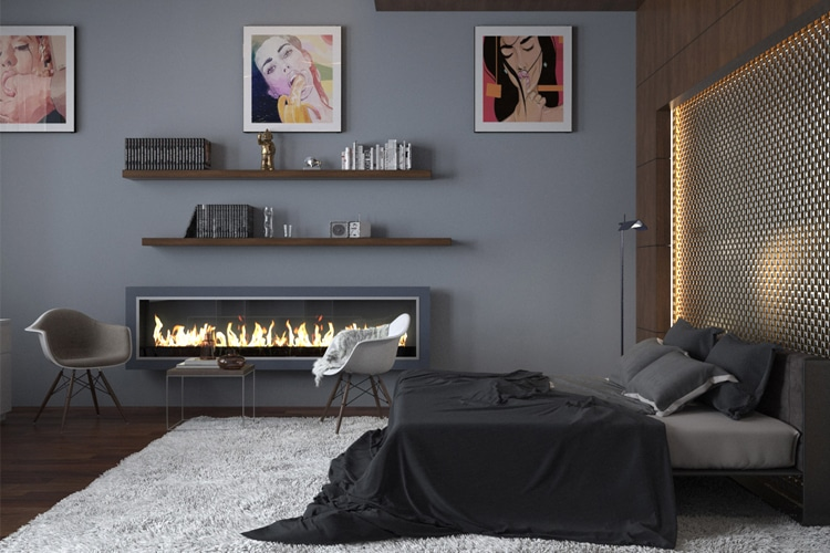masculine bedroom with fireplace