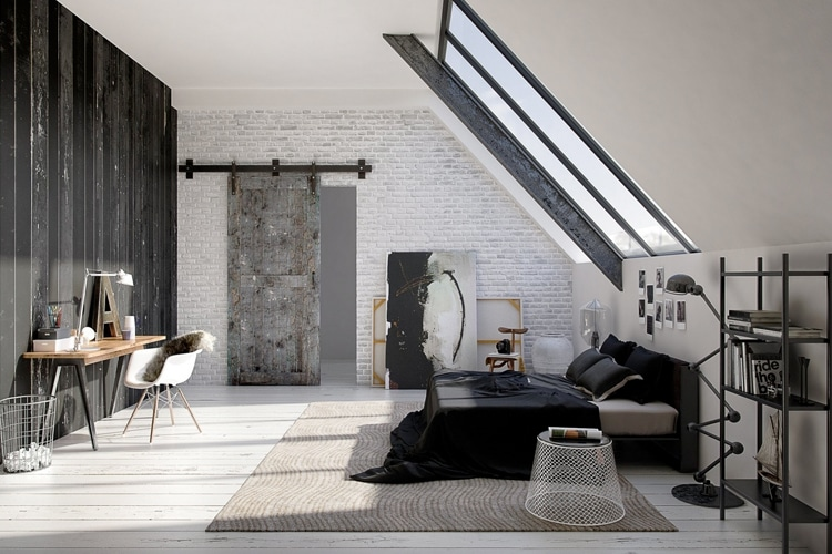 masculine bedroom with a roof window