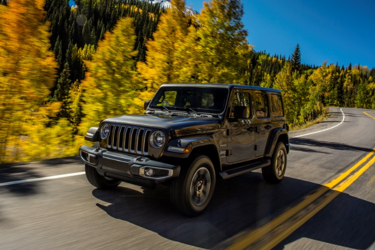 jeep wrangler on the road