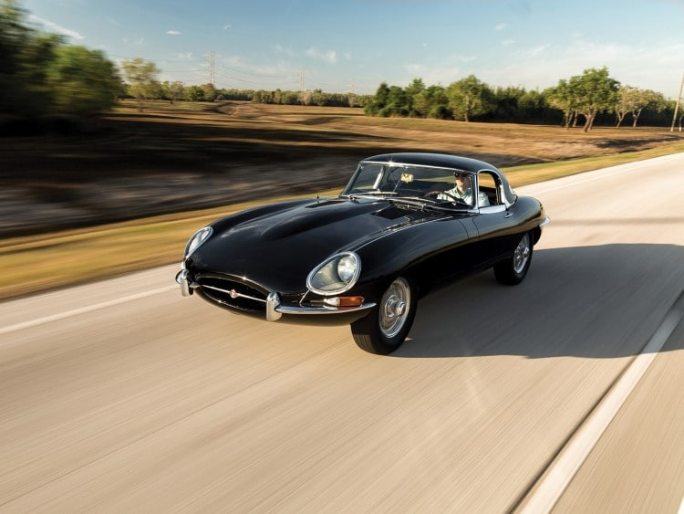 jaguar e-type car on the road