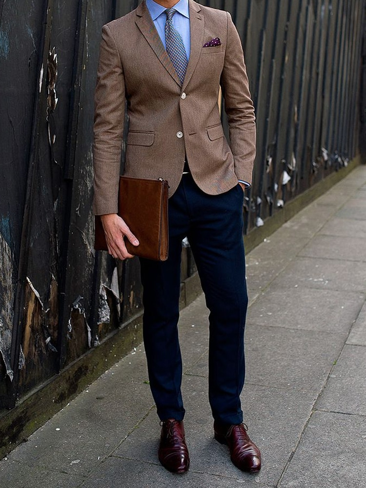 men cocktail attire with hand bag