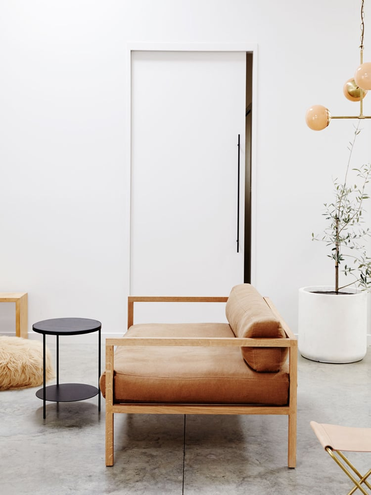 minimalist sofa leather wood frame