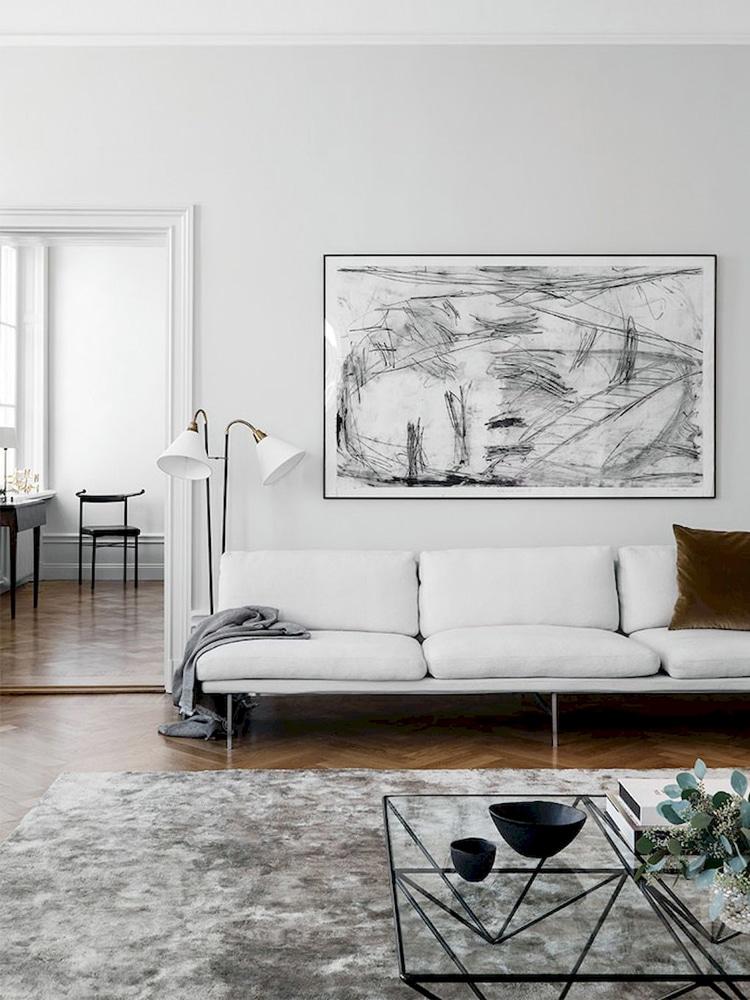 minimalist living room white sofa