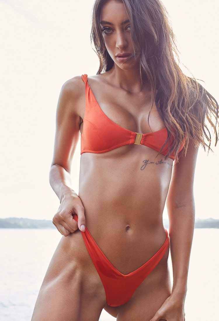 jelena markovic wearing orange bra underwear