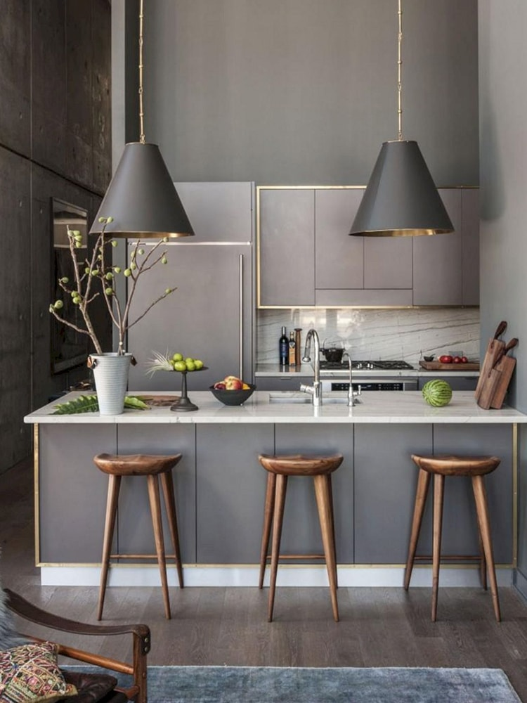 masculine kitchen with dining table and stool